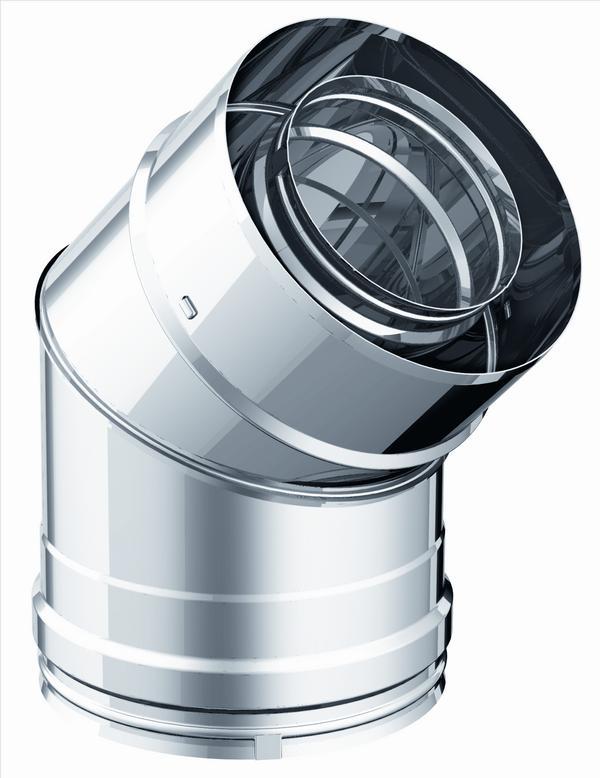 Coude 90 coude 135 double paroi diam tre 150mm for Conduit de cheminee inox isole prix
