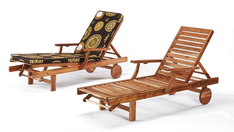 Bain de soleil chaise longue hevea begur r f for Chaises longues de jardin en teck